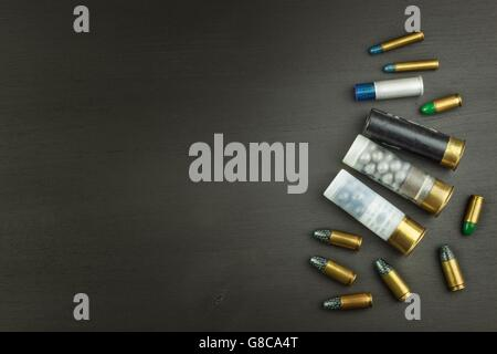 New shotgun shells, various types and caliber. Sales of sporting ammunition. Advertising for the sale of ammunition. - Stock Photo