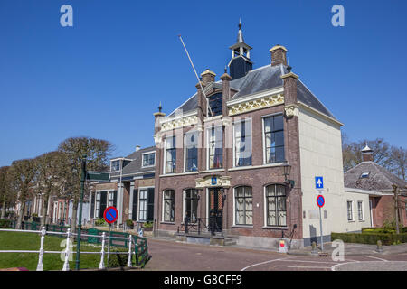 Town hall in the center of historical IJlst, Netherlands Stock Photo