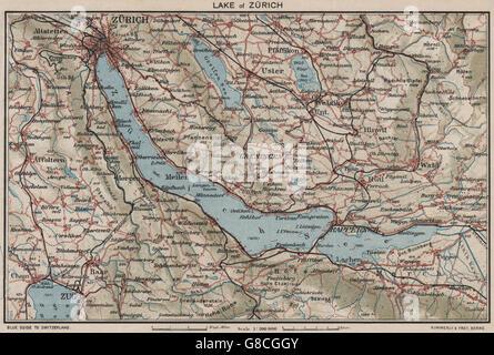 SWITZERLAND Lake of Zurich 1930 vintage map Stock Photo Royalty