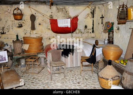 Cave watermill (Cavallo d'Ispica), a working museum still run by original family, in Cava d'Ispica Gorge, Sicily, - Stock Photo
