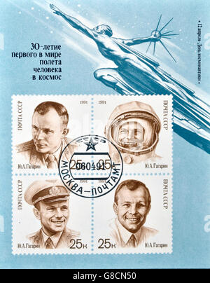 USSR- CIRCA 1991: A stamp printed in the Russia shows shows cosmonaut Yuri Gagarin,  circa 1991. - Stock Photo