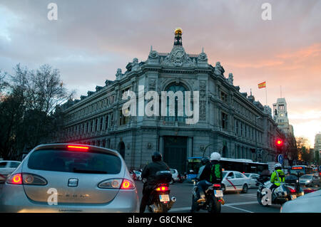 Banco de España building at dusk. Madrid, Spain. - Stock Photo