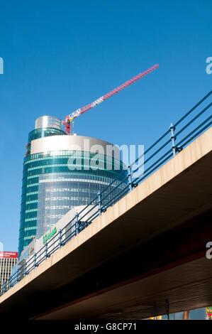 Titania Tower under construction. AZCA, Madrid, Spain. - Stock Photo