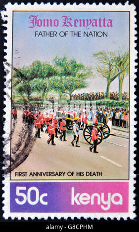 KENYA - CIRCA 1979: A stamp printed in Kenya dedicated to first anniversary of death of Jomo Kenyatta, father of - Stock Photo