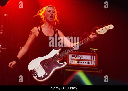 Julia Ruzicka, bassist for Future Of The Left, at Electric Ballroom, London. 21st April 2016.