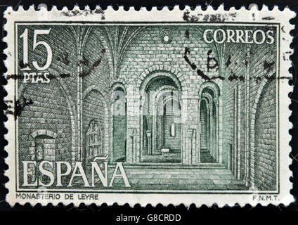 SPAIN - CIRCA 1974: A stamp printed in Spain shows The inside the Monastery Leyre, circa 1974 - Stock Photo