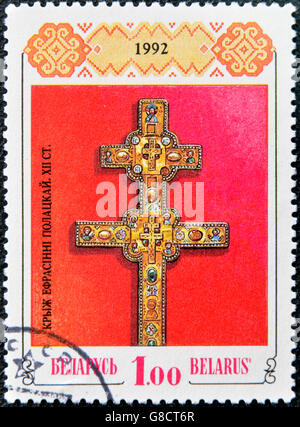BELARUS - CIRCA 1992: A stamp printed in Belarus shows a cross Euphrosyne of Polotsk, circa 1992 - Stock Photo