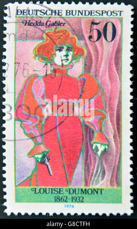 GERMANY - CIRCA 1976: stamp printed in Germany shows portrait Louise Dumont, circa 1976. - Stock Photo
