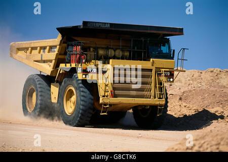 Diamond mining Caterpillar truck, South Africa. - Stock Photo