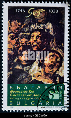 BULGARIA - CIRCA 1996: A stamp printed in Bulgaria shows a picture of the black paint of Goya, circa 1996 - Stock Photo