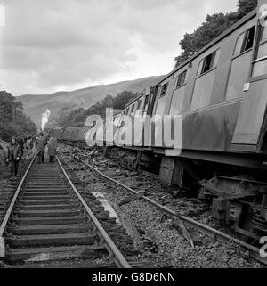 Disasters and Accidents - Landslide - Glasgow-Euston Express Train - Glenairlie Bridge, Scotland - Stock Photo
