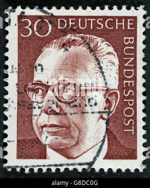 GERMANY - CIRCA 1971: post stamp printed in GDR shows president Gustav Heinemann - Stock Photo