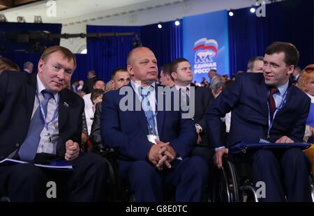 MOSCOW, RUSSIA - JUNE 26, 2016: Russian State Duma members Sergei Poddubny, Vladimir Krupennikov, and Alexander - Stock Photo
