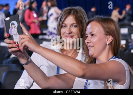 MOSCOW, RUSSIA - JUNE 26, 2016: Attorney general of Crimea, Natalya Poklonskaya (L), at the 15th Congress of the - Stock Photo
