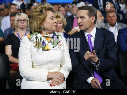 Moscow, Russia. 27th June, 2016. Russian Federation Council chairwoman Valentina Matviyenko (L) and Russian State - Stock Photo