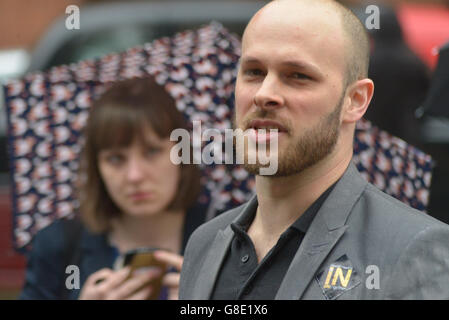 Manchester, UK. 28th June, 2016. A person speaking in favour of the campaign 'Undo Brexit' on June 28th, 2016, in - Stock Photo