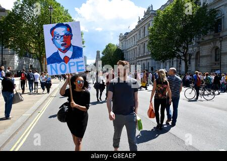 Anti-Gove protester marches down Whitehall as part of the March for Europe. - Stock Photo