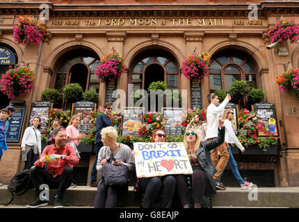 London, UK , 2 July 2016: Protesters on the March for Europe demonstration voicing their support for Parliament - Stock Photo
