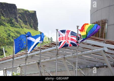Edinburgh, Scotland, United Kingdom, 02, July, 2016. The rainbow Pride flag flies outside the Scottish Parliament - Stock Photo