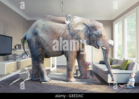 Big elephant and the baby  in the living room. 3d concept - Stock Photo