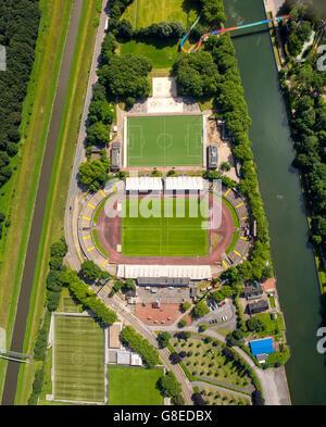 Aerial view, Stadion Niederrhein, SC Rot-Weiß Oberhausen e.V., TC Sterkrade 1869 e.V., Emscher Rhine-Herne Canal, - Stock Photo