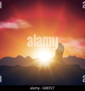 Beautiful sunset in the mountains. Orange sky, long and bright rays of the sun. EPS10. Vector - Stock Photo
