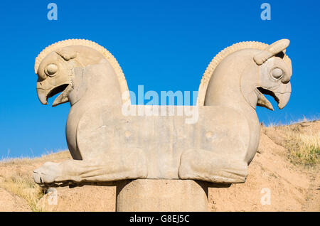 Two-Headed Griffin in Persepolis, Iran - Stock Photo
