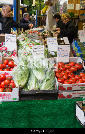 Vegetable stall on Bury Market, Greater Manchester. The traditional open market is amongst the most successful in - Stock Photo