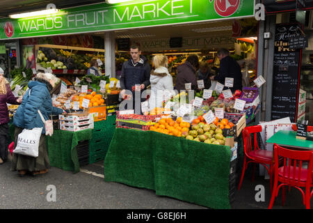 Wards Fruit Market stall on Bury Market, Greater Manchester. The traditional open market is one of the most successful - Stock Photo