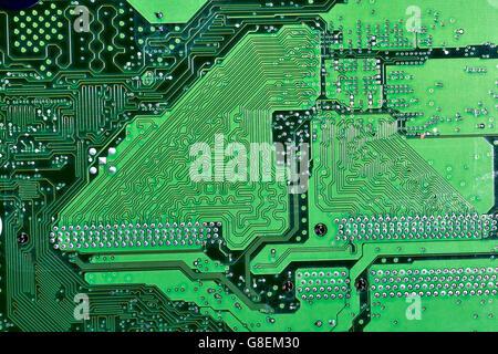 Printed circuit board conductor tracks close-up - Stock Photo
