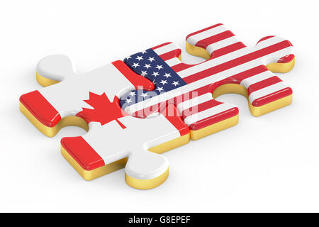 USA and EU puzzles from flags, relation concept. 3D rendering - Stock Photo