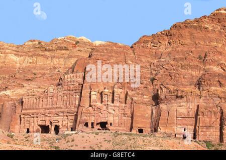 View of the Royal Tombs In Petra, Jordan. - Stock Photo