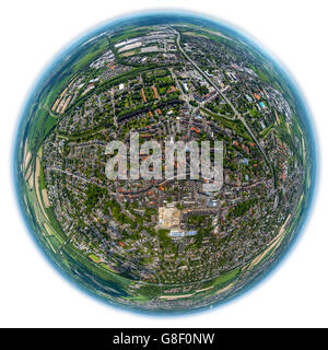 Aerial view, fisheye optics, fisheye lens, overview of Kamen, Kamen, Ruhr area, North Rhine Westphalia, Germany, - Stock Photo