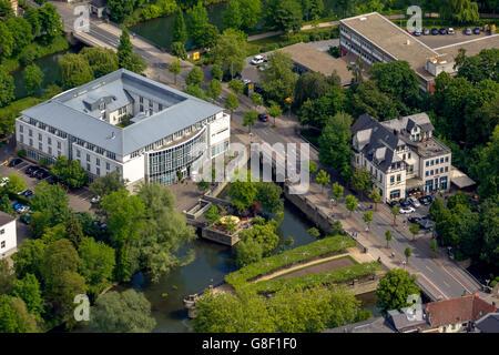 Aerial view, Hotel Lippe Residenz on the lippe island, aerial, Lippstadt, East Westphalia, North Rhine Westphalia, - Stock Photo