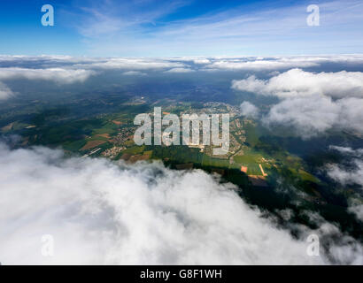 Aerial view, fisheye optics, fisheye lens, overview of Menden, view through the cloud cover from 5000 feet altitude, - Stock Photo