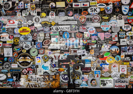 HACKBERRY, AZ, USA - MAY 27, 2015: Stickers put on a window by visitors of the general store at Hackberry, Route - Stock Photo