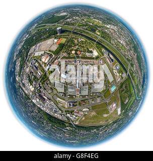 Aerial view, fisheye optics, fisheye lens, Centro Oberhausen, new center, shopping center, promenade, parking, tourism, - Stock Photo