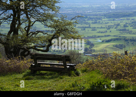 Views of the rolling Somerset countryside on the edge of the Mendip Hills near Ebbor Gorge above the village of - Stock Photo