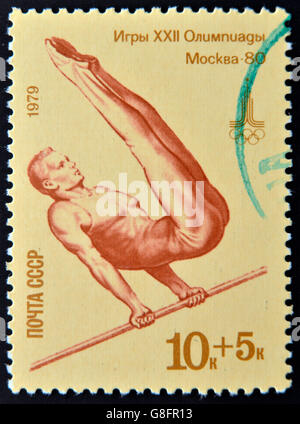 USSR - CIRCA 1979: A stamp printed in Russia shows a gymnastics, devoted Olympic games in Moscow, circa 1979 - Stock Photo