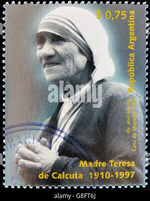 ARGENTINA - CIRCA 1997: A stamp printed in Argentina shows mother Teresa, circa 1997 - Stock Photo