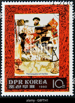 DEMOCRATIC PEOPLE'S REPUBLIC (DPR) of KOREA - CIRCA 1980: A stamp printed in North Korea shows Fernando Magellan, - Stock Photo