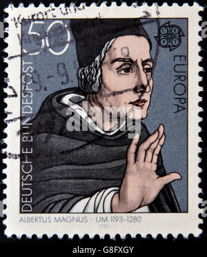 GERMANY - CIRCA 1980: A stamp printed in Germany shows portrait of Albertus Magnus, circa 1980 - Stock Photo