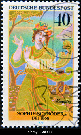 GERMANY - CIRCA 1976: A stamp printed in Germany, shows portrait Sophie Schroder, circa 1976. - Stock Photo