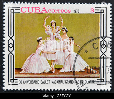 CUBA - CIRCA 1978: A stamp printed in Cuba shows 30th anniversary of the National Ballet 'grand pas de quatre', - Stock Photo
