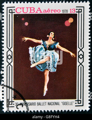 CUBA - CIRCA 1978: A stamp printed in Cuba shows ballet 'Giselle', circa 1978 - Stock Photo