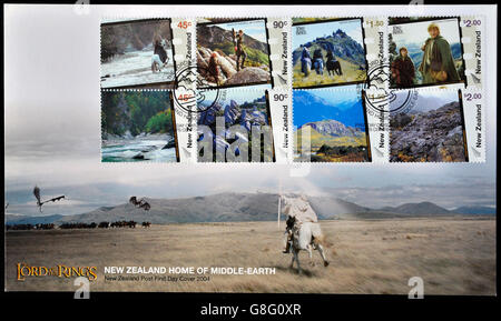 NEW ZEALAND - CIRCA 2004: postcard printed in New Zealand, shows Scenes from The Lord of the Rings, circa 2004 - Stock Photo