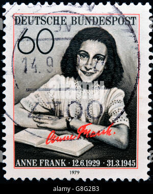 GERMANY CIRCA 1979: postage stamp printed in Germany shows an image of Anne Frank, circa 1979. - Stock Photo
