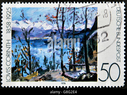 GERMANY - CIRCA 1978: A stamp printed in Germany shows a picture of the 'Easter at Walchensee' by Lovis Corinth, - Stock Photo