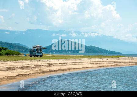 Rio De Janeiro, February 15, 2016 - Tourist camping minivan waiting for tourists in Paraty, state Rio de Janeiro, - Stock Photo