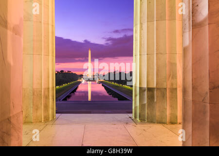 Washington DC at the Reflecting Pool and Washington Monument viewed from Lincoln Memorial.